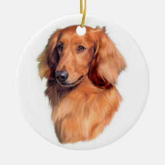 Longhaired Dachsund Xmas Ornaments