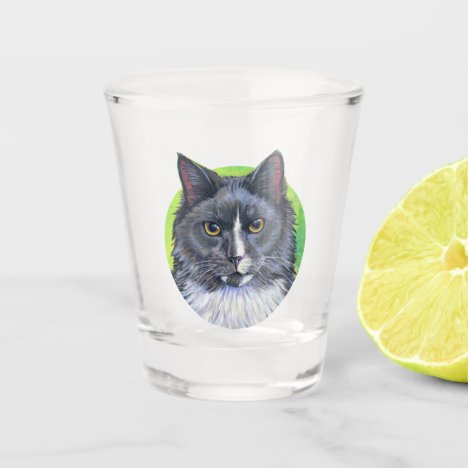 Longhaired Gray and White Cat Shot Glass