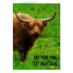 Longhaired LongHorn with Long Horns Greeting Card