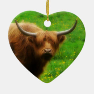 Longhaired LongHorn with Long Horns Christmas Tree Ornament
