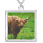 Longhaired LongHorn with Long Horns Pendants