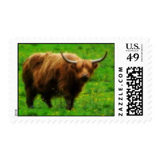 Longhaired LongHorn with Long Horns Postage Stamp