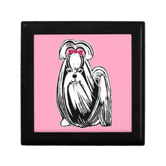Longhaired Shih Tzu Pink & Black Keepsake Box