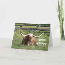 Longhorn Birthday Card