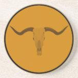 Longhorn bull skull drink coaster