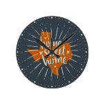 Longhorn Burnt Orange Home Sweet Home – Texas Round Clock