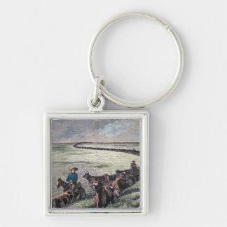Longhorn cattle drive from Texas to Abilene, Kansa Silver-Colored Square Keychain