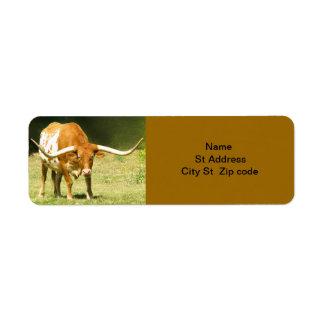 Longhorn Cattle Return Address Label. Label