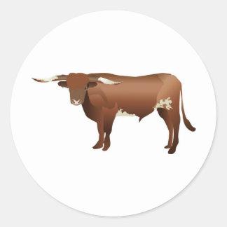 Longhorn Cattle Round Stickers