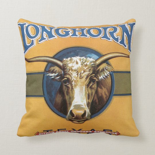 Longhorn Citrus Throw Pillow
