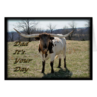 Longhorn for Dad-customize Greeting Cards
