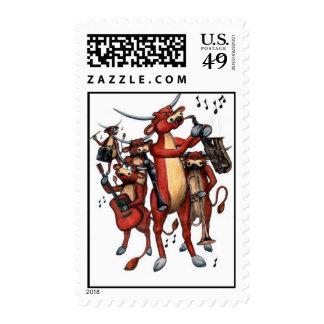 longhorn moo-sic postage stamp