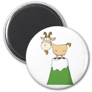 Longhorn On Top Of A Mountain Peak 2 Inch Round Magnet