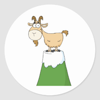 Longhorn On Top Of A Mountain Peak Classic Round Sticker