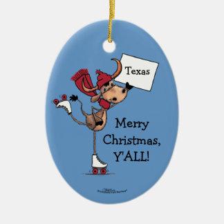 Longhorn Roller Skating-Merry Christmas Y'all! Ceramic Ornament