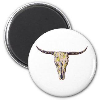 Longhorn Scull Art 2 Inch Round Magnet