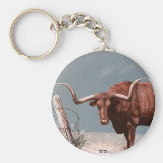 LONGHORN STEER painting by DiDi Basic Round Button Keychain
