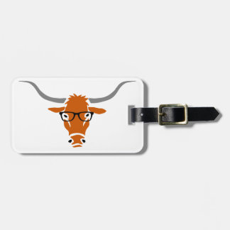 Longhorn with Hipster Glasses Luggage Tag