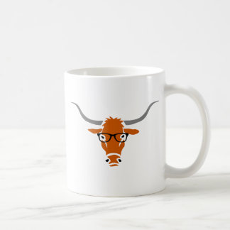 Longhorn with Hipster Glasses Classic White Coffee Mug