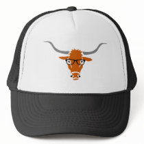 Longhorn with Hipster Glasses Trucker Hat