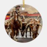 Longhorns of Fort Worth, Texas Ceramic Ornament