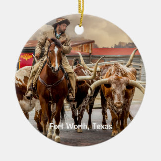 Longhorns of Fort Worth, Texas Ceramic Ornament