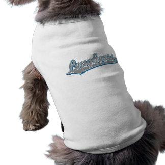 Longhorns  script logo in blue and gray shirt