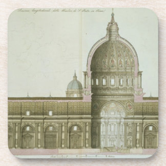 Longitudinal Cross-Section of St. Peter's in Rome, Beverage Coaster