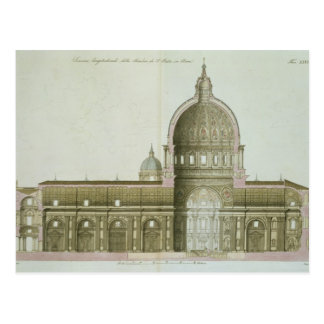 Longitudinal Cross-Section of St. Peter's in Rome, Postcard