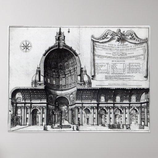 Longitudinal cross-section of St. Peter's Poster