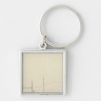 Longitudinal Vertical Projection III Comstock Lode Silver-Colored Square Keychain