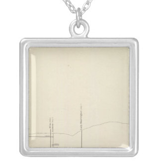 Longitudinal Vertical Projection III Comstock Lode Square Pendant Necklace