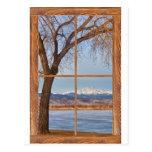 Longs Peak Winter Lake Barn Wood Picture Window Postcard
