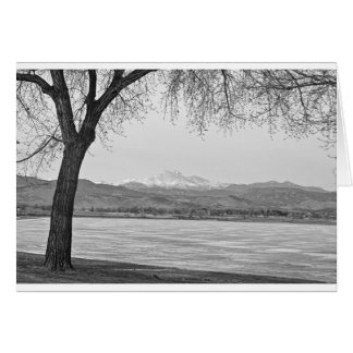 Longs Peak Winter View Black and White Greeting Card