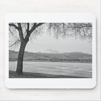 Longs Peak Winter View Black and White Mouse Pad