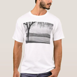 Longs Peak Winter View Black and White T-Shirt
