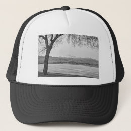 Longs Peak Winter View Black and White Trucker Hat