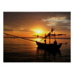 Longtail Boat at Sunset Puzzle Posters