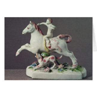 Longton Hall figure of Cupid riding a horse Card