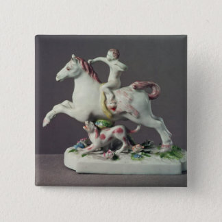 Longton Hall figure of Cupid riding a horse Pinback Button