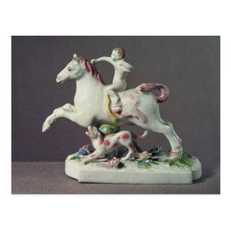 Longton Hall figure of Cupid riding a horse Postcard
