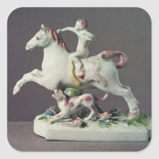 Longton Hall figure of Cupid riding a horse Square Sticker