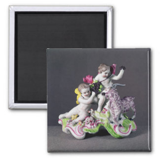 Longton Hall group, two putti with goat, c.1755 2 Inch Square Magnet