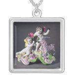 Longton Hall group, two putti with goat, c.1755 Square Pendant Necklace