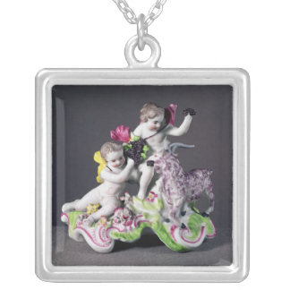 Longton Hall group, two putti with goat, c.1755 Silver Plated Necklace