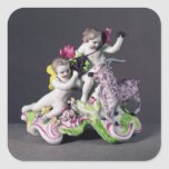 Longton Hall group, two putti with goat, c.1755 Square Sticker