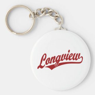 Longview script logo in red keychain