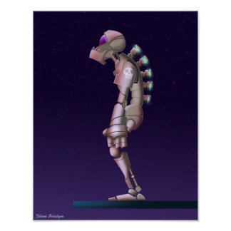 Lonley Robot drawing Poster