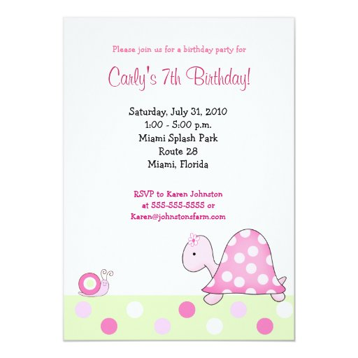 Lonnie's Pink Turtle 5x7 Girls Birthday Invitation