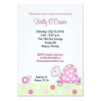 Lonnie's Pink Turtle Baby Shower Invitation